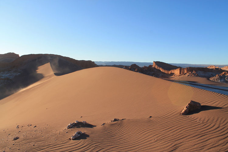 The Valley of the Moon (Valle de la Luna) in Chile -- a sand dune at sunset