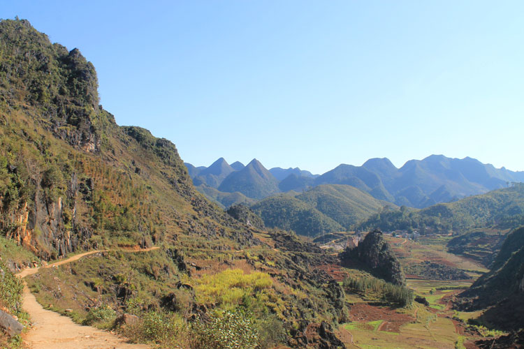 Hiking in Dong Van, Vietnam -- karst mountains