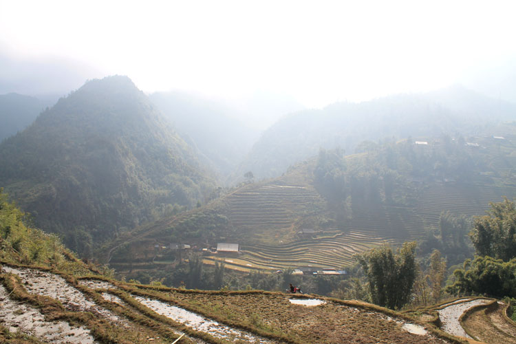 Visiting Sapa in winter -- hazy mountains