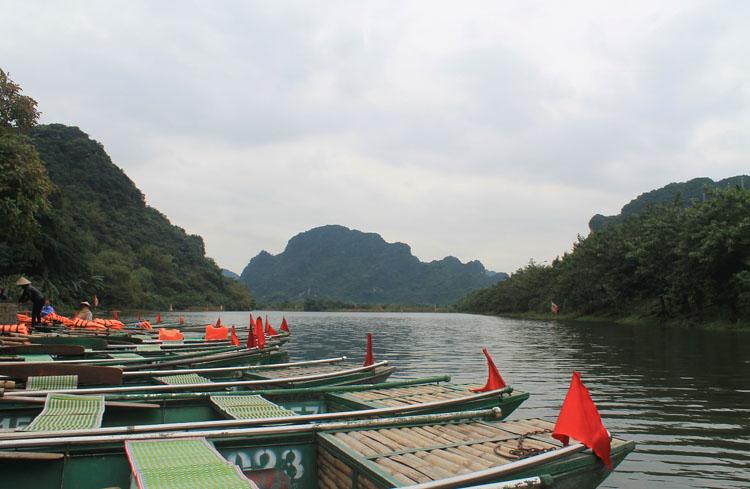 The Trang An Gottos boats near Ninh Binh, Vietnam