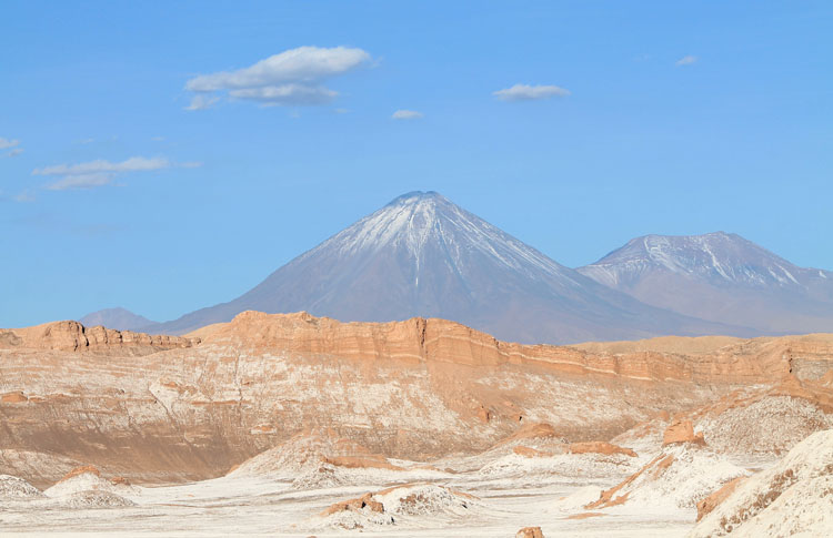 The Valley of the Moon (Valle de la Luna) in Chile -- snow-capped volcanoes