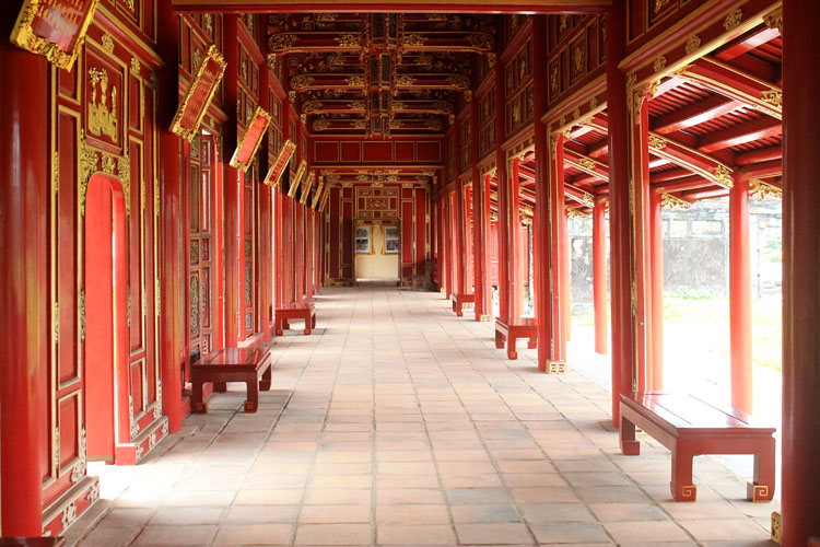 A day in Hue, Vietnam -- Red building in the imperial citadel