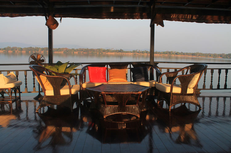 A 3 day Mekong River cruise in southern Laos -- relaxing on the deck