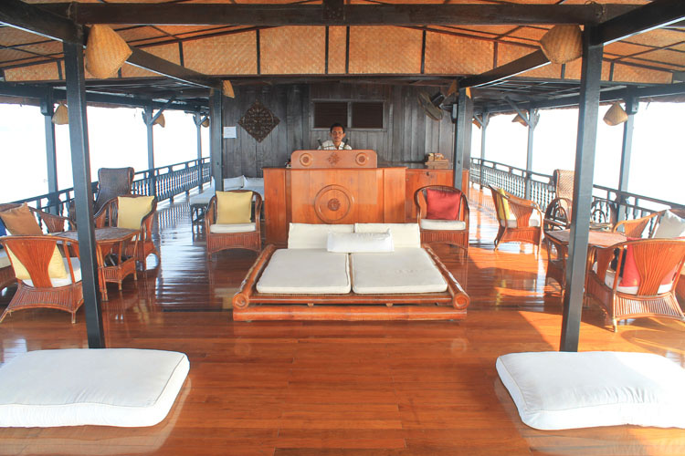 A 3 day Mekong River cruise in southern Laos -- the deck of the Vat Phou river boat