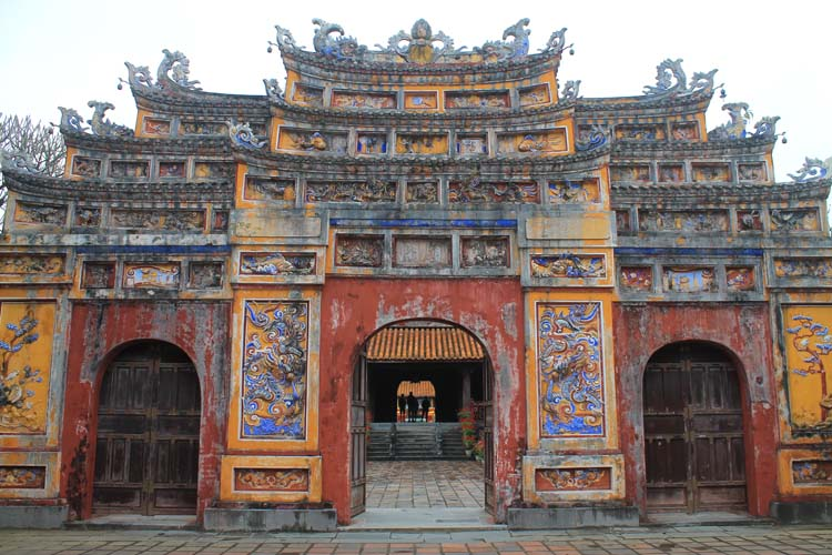 A day in Hue, Vietnam -- A colourful gate in the Imperial Citadel