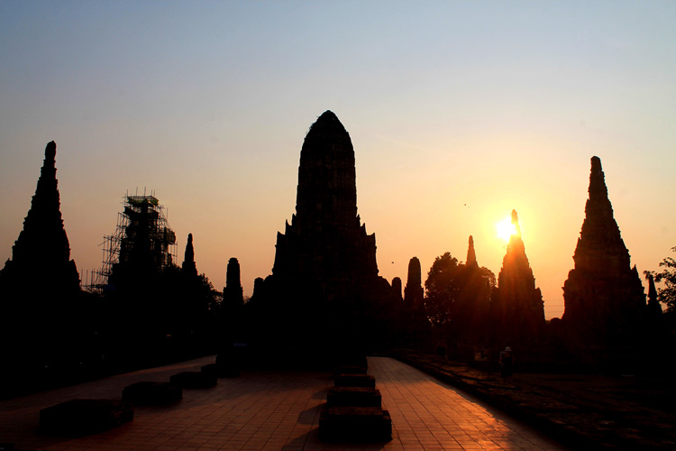 Cycling to the temples in Ayutthaya, Thailand -- Wat Whaiwattanaram sunset