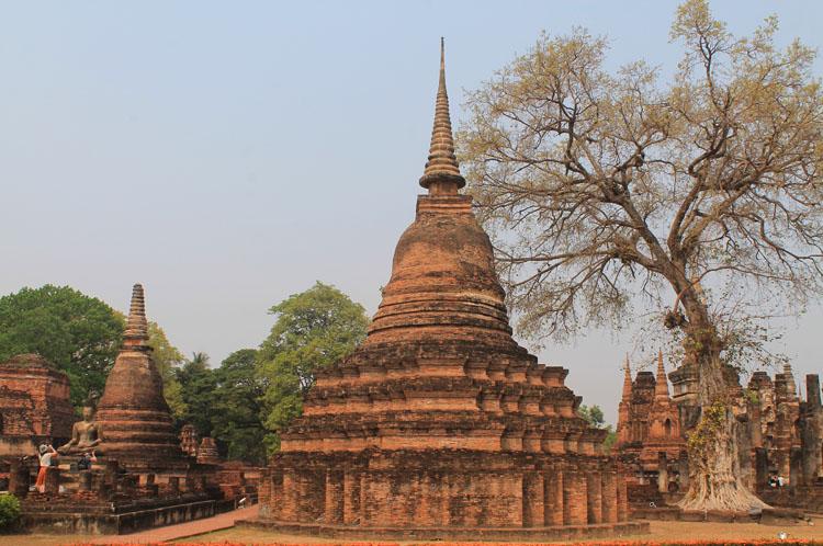 Cycling between Ancient Ruins in Sukhothai, Thailand -- lots of wats