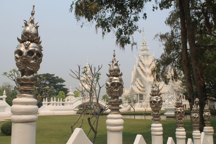 The skull fence at Wat Rong Khun, the white temple in Chiang Rai, Thailand