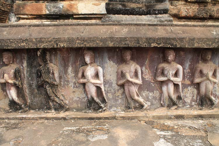 Cycling between Ancient Ruins in Sukhothai, Thailand -- Central zone carvings