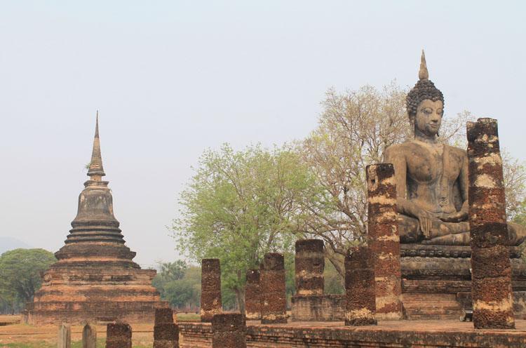 Ancient ruins in Sukhothai, Thailand -- Wat Mahathat