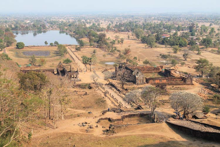 Wat Phu (Vat Phou) from above -- Khmer ruins in Laos