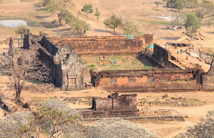 A palace from above at Wat Phu (Vat Phou) -- Khmer ruins in Laos