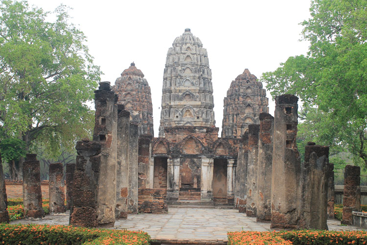 Cycling between Ancient Ruins in Sukhothai, Thailand -- Wat Si Sawai