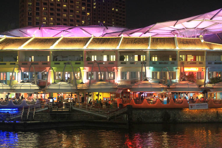 Downtown Singapore -- Clarke Quay at night