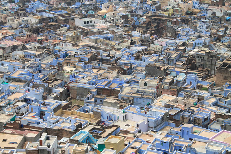 The streets of Bundi, Rajasthan, India -- blue houses