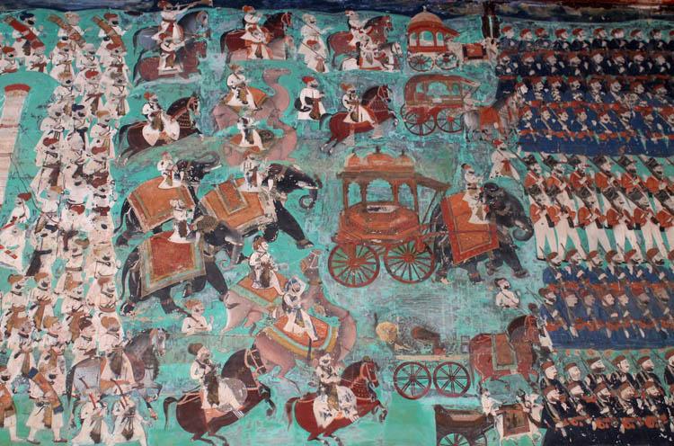 The streets of Bundi, Rajasthan, India -- paintings at Garh Palace