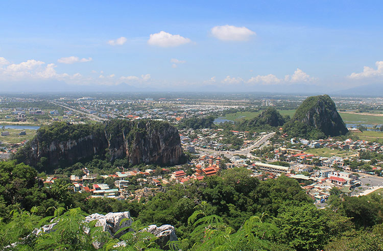 A view of the Marble Mountains, Vietnam from above