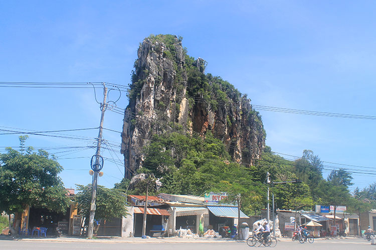 The Marble Mountains from the street, Vietnam