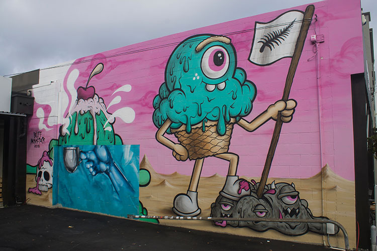 Things to do in Christchurch, New Zealand -- ice-cream street art