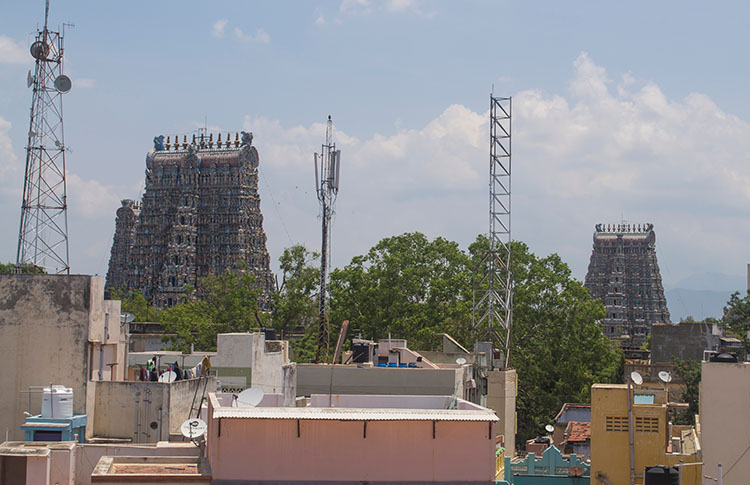 Rooftop view of Meenakshi Temple from Kolam Madurai