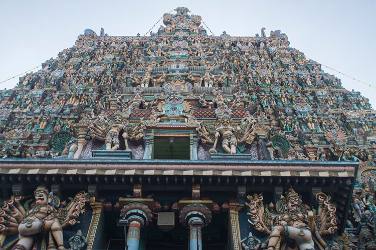 Colourful carvings of Meenakshi Temple, Madurai, India