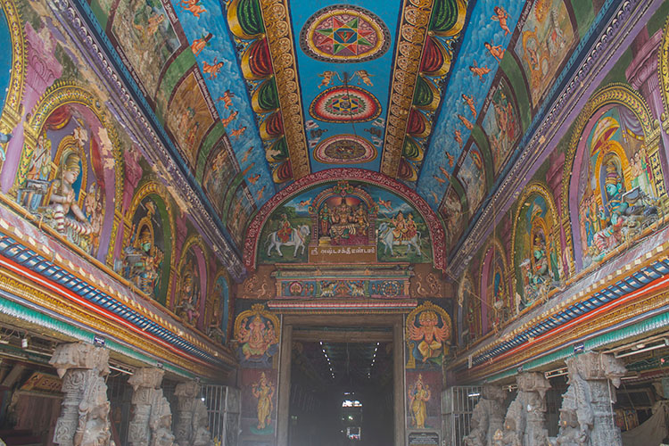 Colourful paintings at Meenakshi Temple, Madurai, India