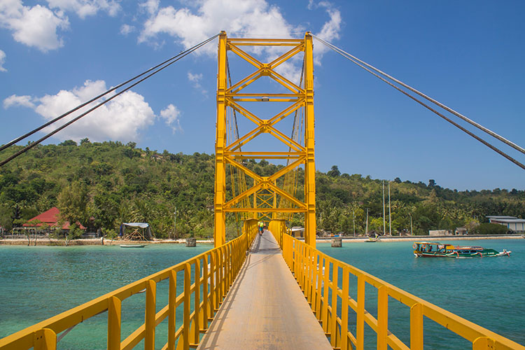 The yellow bridge between Nusa Lembongan and Nusa Ceningan, Indonesia