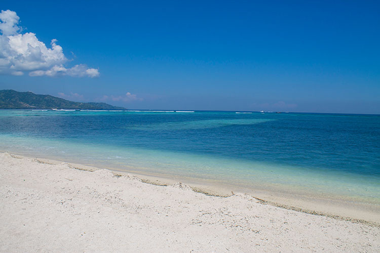 A paradise white sand beach on Gili Air, Indonesia