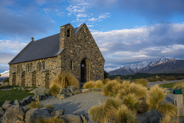 Two week New Zealand itinerary: Stone church Lake Tekapo