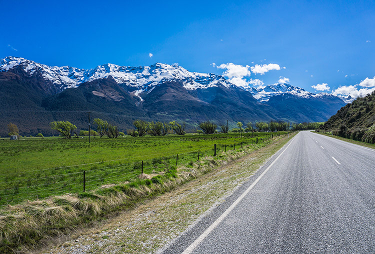 Scenic roads near Queenstown, New Zealand -- the road to Kinloch