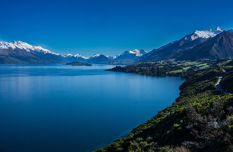 Scenic roads near Queentown, New Zealand -- the road to Glenorchy