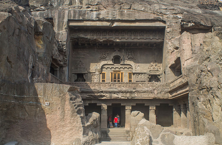 The day trip to Ellora Caves from Aurangabad, India -- an outer cave temple