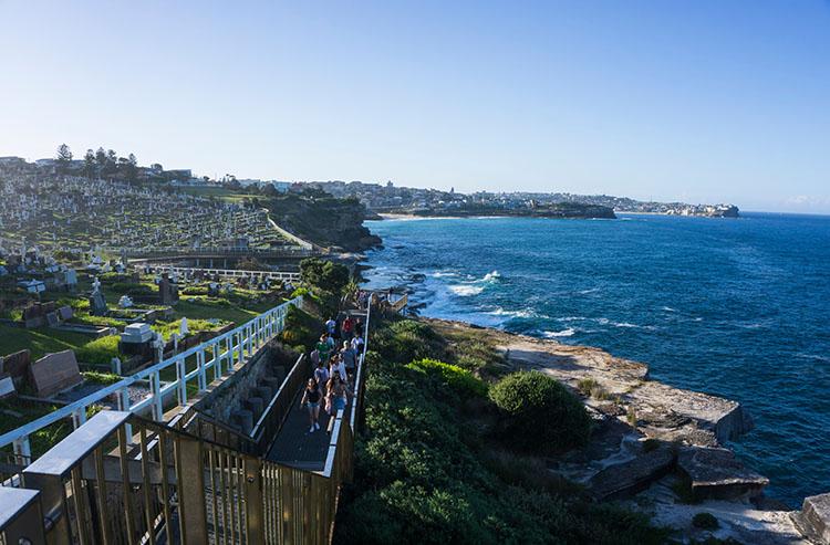 Crowds on the Bondi to Coogee walk, Sydney, Australia