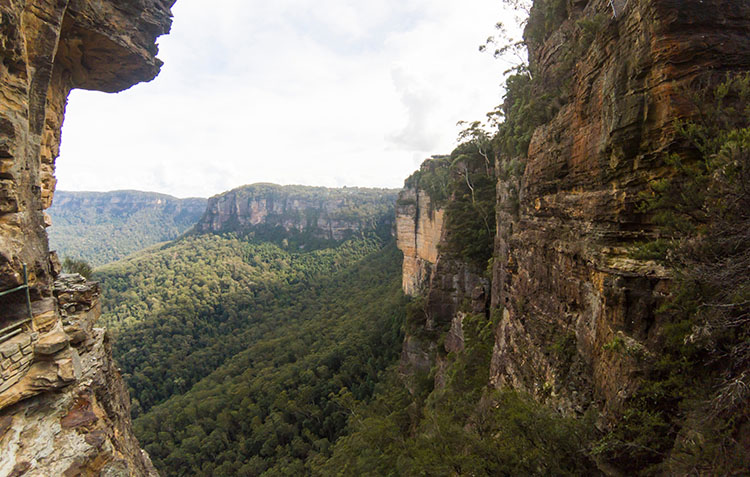 The view from inside one of the Three Sisters, Blue Mountains, Australia