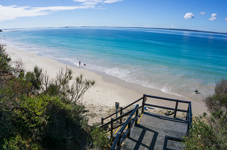 A viewpoint overlooking Nelsons Beach on the White Sands Walk, Jervis Bay, Australia
